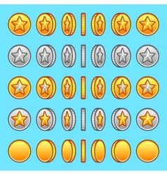 Star gold silver coins rotation set vector