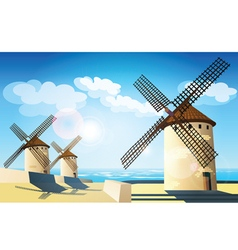 Windmills on the banks vector