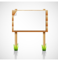 Wooden notice board with grass vector