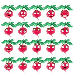 Cute cartoon radish smile with many expressions vector