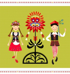 Polish folk costume vector