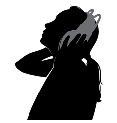 Silhouette girl in headphones vector