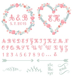 Monogram in floral frames set vector