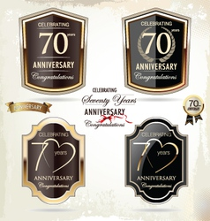 70 years anniversary labels vector