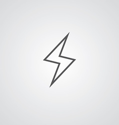 Lightning outline symbol dark on white background vector