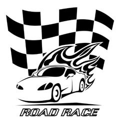 Road race poster design in black and white vector