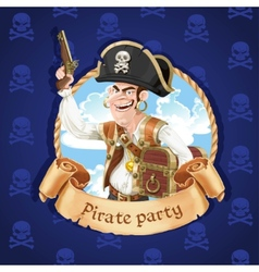 Cute pirate with a gun and big treasure chest vector