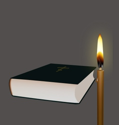 Bible and candle vector