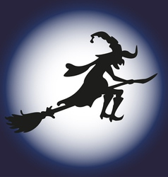 Halloween witch and moon silhouette isolated vector