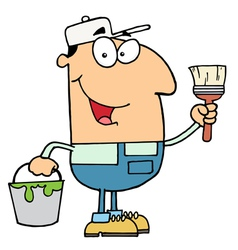 House painter holding a pail and paintbrush vector