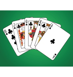 Royal flush of clubs vector