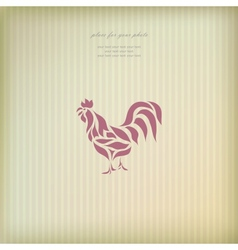 Vintage greeting card with chicken vector