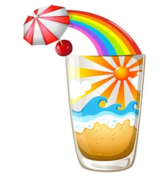 A glass with a summer template vector