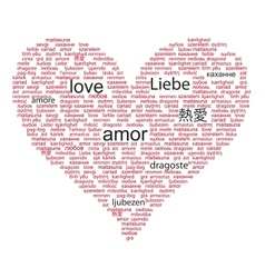 Love concept word in many languages of the world vector