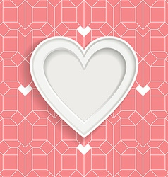 White frame in heart shape and geometric pattern vector