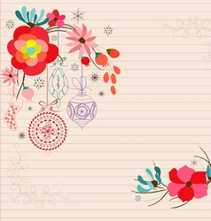 Hand draw flower doodle christmas ornament vector