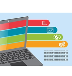 Notebook computer info graphic presentation vector