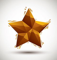 Golden star geometric icon made in 3d modern style vector