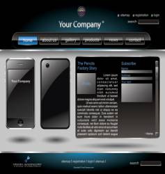 Mobile phone editable website template vector