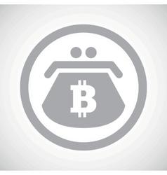 Grey bitcoin purse sign icon vector