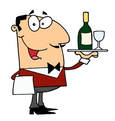 Friendly caucasian male butler serving wine vector