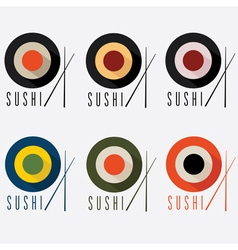 Sushi flat design set vector