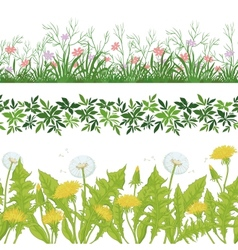 Flowers grass and leaves seamless set vector