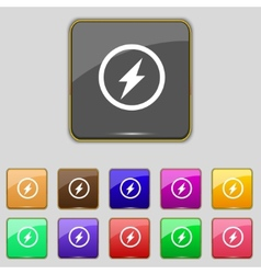 Photo flash sign icon lightning symbol set vector