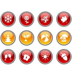Seasons buttons vector