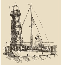Ship and beacon vintage engraved vector