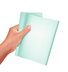 Hand holding note book vector