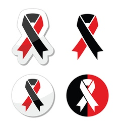 Red and black ribbons set - atheism symbol vector