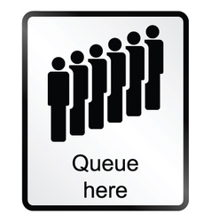 Queue here information sign vector