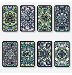 Business cards collection with kaleidoscope vector