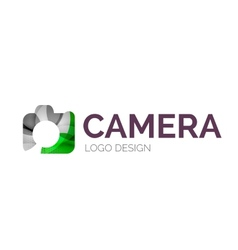 Camera logo design made of color pieces vector
