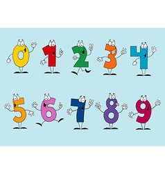Funny cartoon numbers set vector