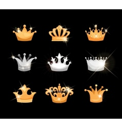 Gold and silver crowns icons set vector