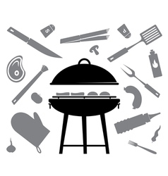 Set of accessories for barbecue vector