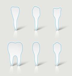 Icons white teeth vector