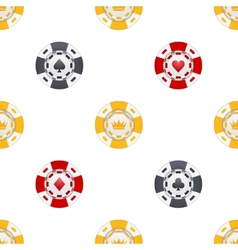 Universal casino chips seamless patterns vector
