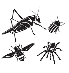 Insect collection - silhouette vector