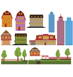 Houses and skyscrapers vector