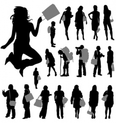 People with shopping bag vector