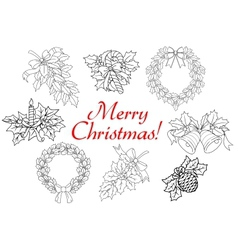 Christmas and new year holiday decorations set vector