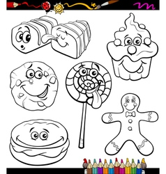 Sweets set cartoon coloring book vector