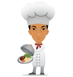 Chef with a main course vector