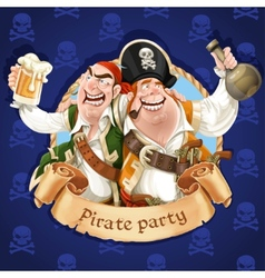 Two drunken pirates with rum and beer banner for vector