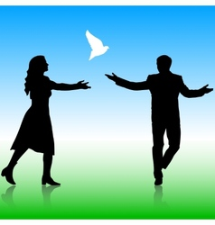 Silhouettes girl and guy released doves into the vector