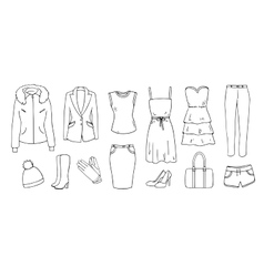 Fashion and clothes set vector