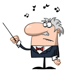 Orchestra conductor holds baton vector